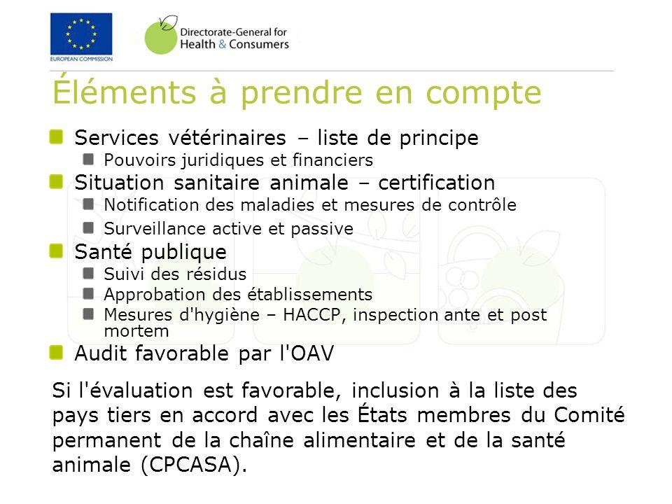 Services vétérinaires – liste de principe Pouvoirs juridiques et financiers Situation sanitaire animale – certification Notification des maladies et m