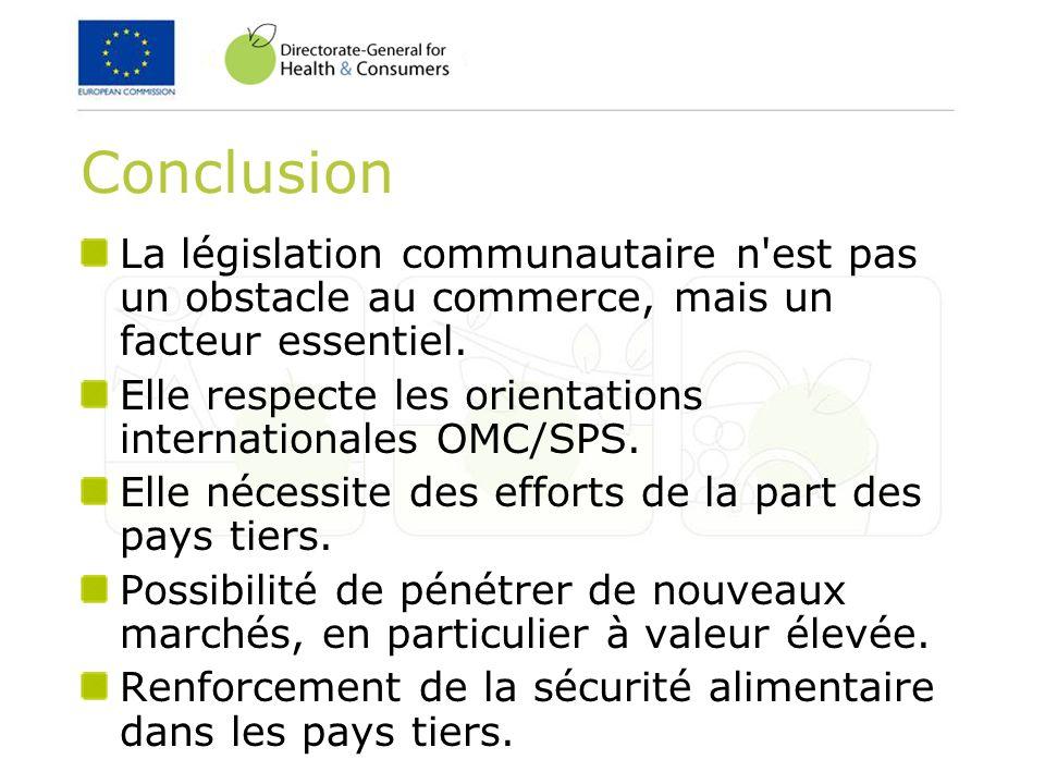Conclusion La législation communautaire n'est pas un obstacle au commerce, mais un facteur essentiel. Elle respecte les orientations internationales O