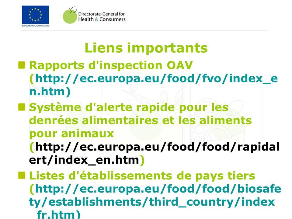Liens importants Rapports d'inspection OAV (http://ec.europa.eu/food/fvo/index_e n.htm) Système d'alerte rapide pour les denrées alimentaires et les a