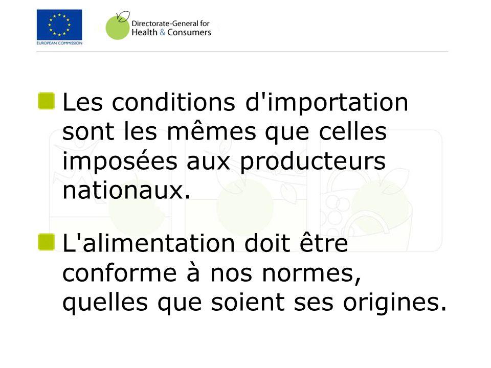Les conditions d'importation sont les mêmes que celles imposées aux producteurs nationaux. L'alimentation doit être conforme à nos normes, quelles que