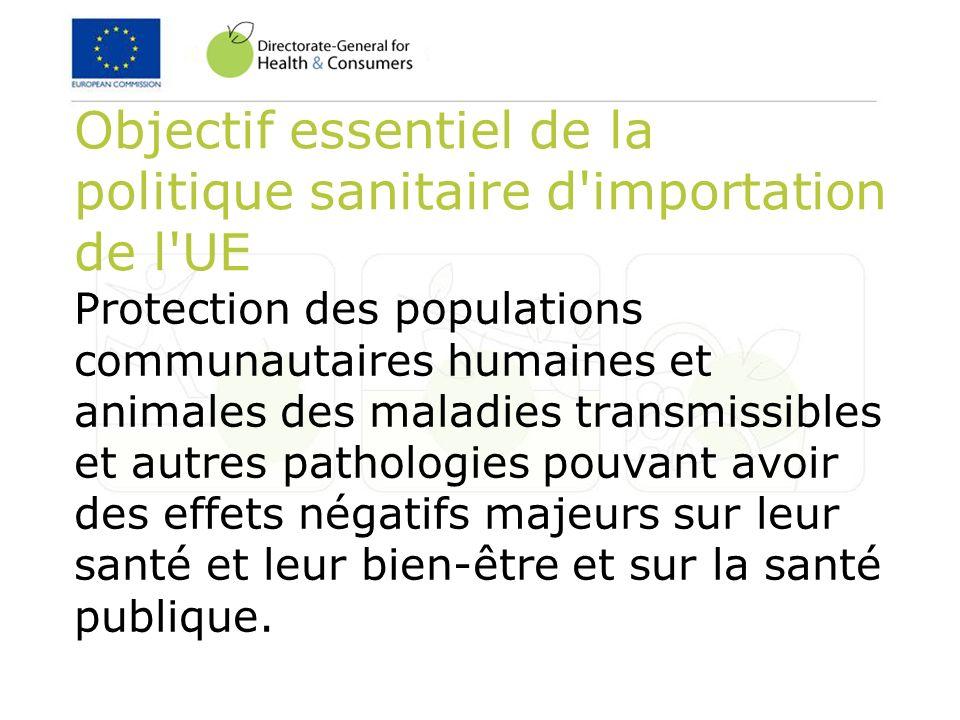 Objectif essentiel de la politique sanitaire d'importation de l'UE Protection des populations communautaires humaines et animales des maladies transmi