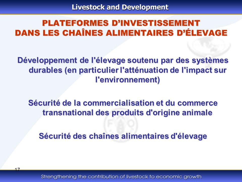 17 PLATEFORMES DINVESTISSEMENT DANS LES CHAÎNES ALIMENTAIRES DÉLEVAGE Développement de l'élevage soutenu par des systèmes durables (en particulier l'a