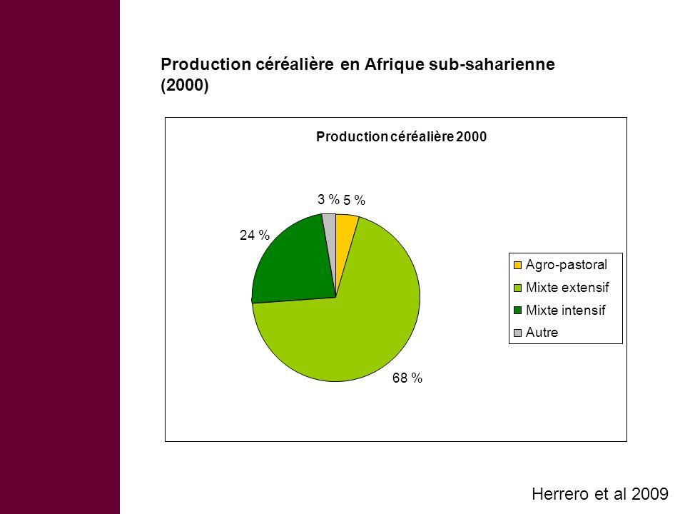 Production céréalière en Afrique sub-saharienne (2000) Herrero et al 2009 Production céréalière 2000 5 % 68 % 24 % 3 % Agro-pastoral Mixte extensif Mixte intensif Autre