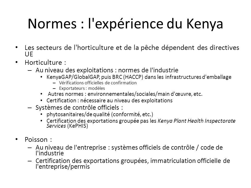Normes : l'expérience du Kenya Les secteurs de l'horticulture et de la pêche dépendent des directives UE Horticulture : – Au niveau des exploitations