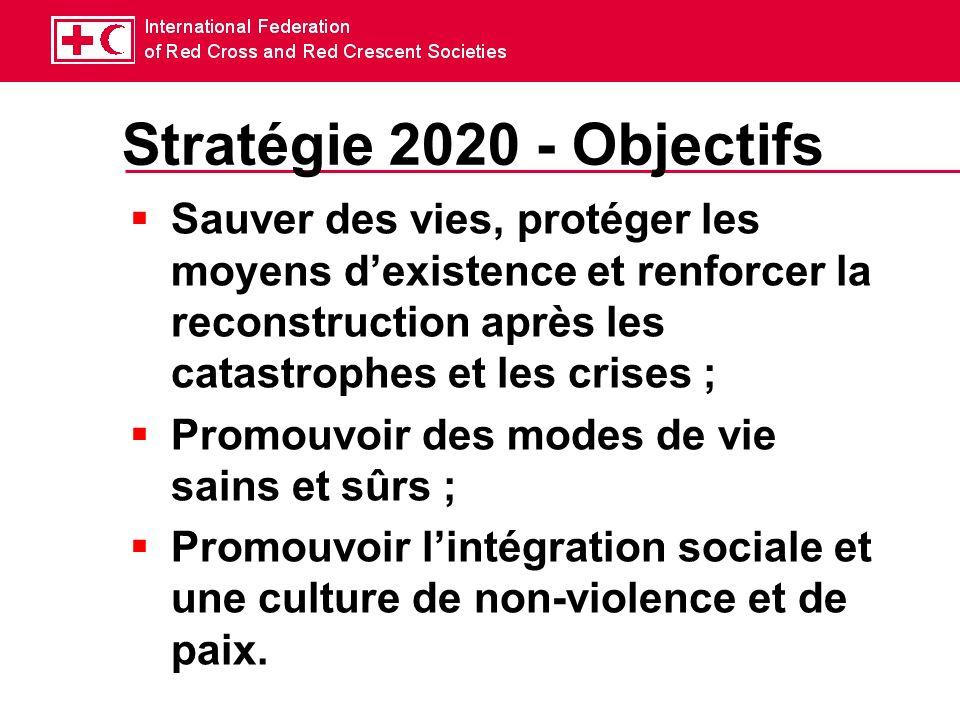 Stratégie 2020 - Objectifs Sauver des vies, protéger les moyens dexistence et renforcer la reconstruction après les catastrophes et les crises ; Promouvoir des modes de vie sains et sûrs ; Promouvoir lintégration sociale et une culture de non-violence et de paix.