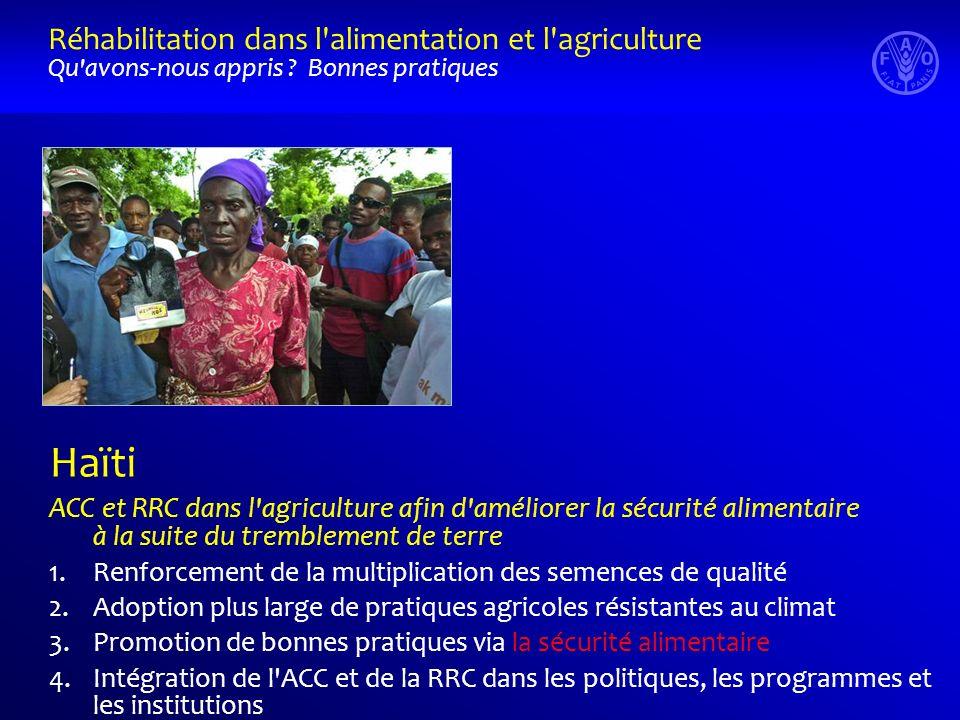 Haïti ACC et RRC dans l'agriculture afin d'améliorer la sécurité alimentaire à la suite du tremblement de terre 1.Renforcement de la multiplication de