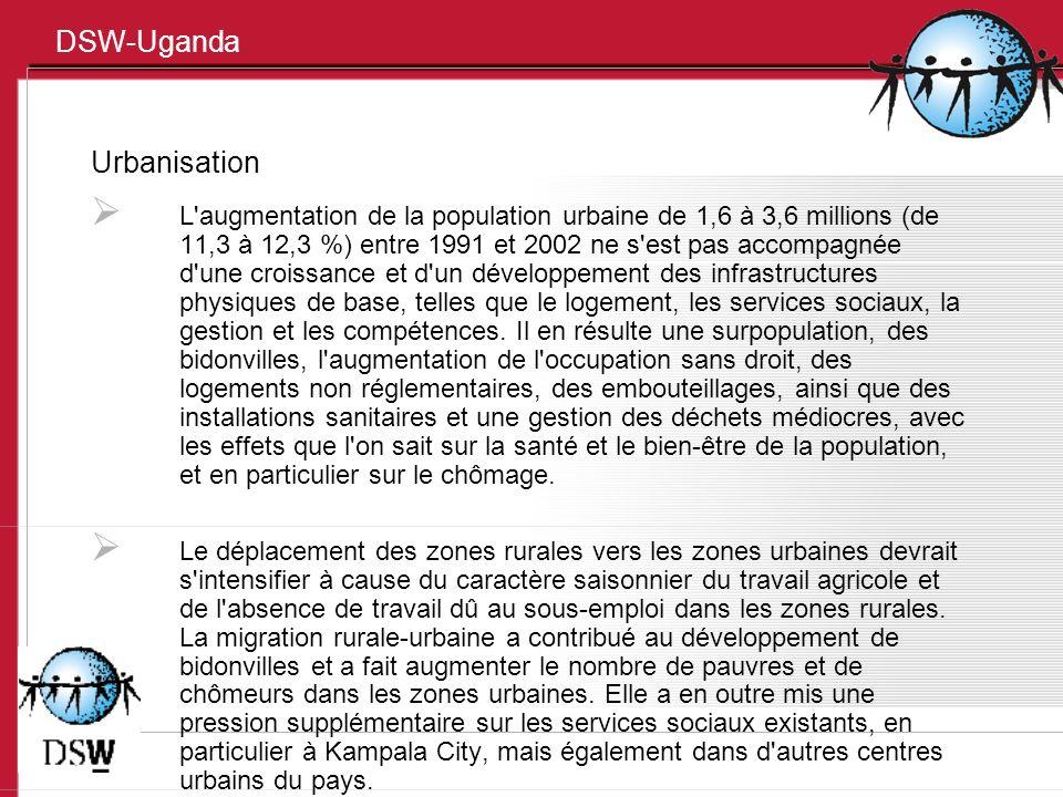 DSW-Uganda Urbanisation L'augmentation de la population urbaine de 1,6 à 3,6 millions (de 11,3 à 12,3 %) entre 1991 et 2002 ne s'est pas accompagnée d