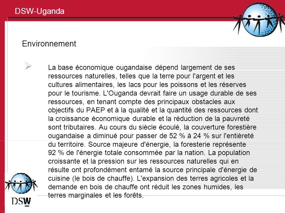 DSW-Uganda Environnement La base économique ougandaise dépend largement de ses ressources naturelles, telles que la terre pour l'argent et les culture