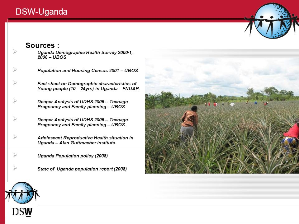 DSW-Uganda Sources : Uganda Demographic Health Survey 2000/1, 2006 – UBOS Population and Housing Census 2001 – UBOS Fact sheet on Demographic characteristics of Young people (10 – 24yrs) in Uganda – FNUAP.