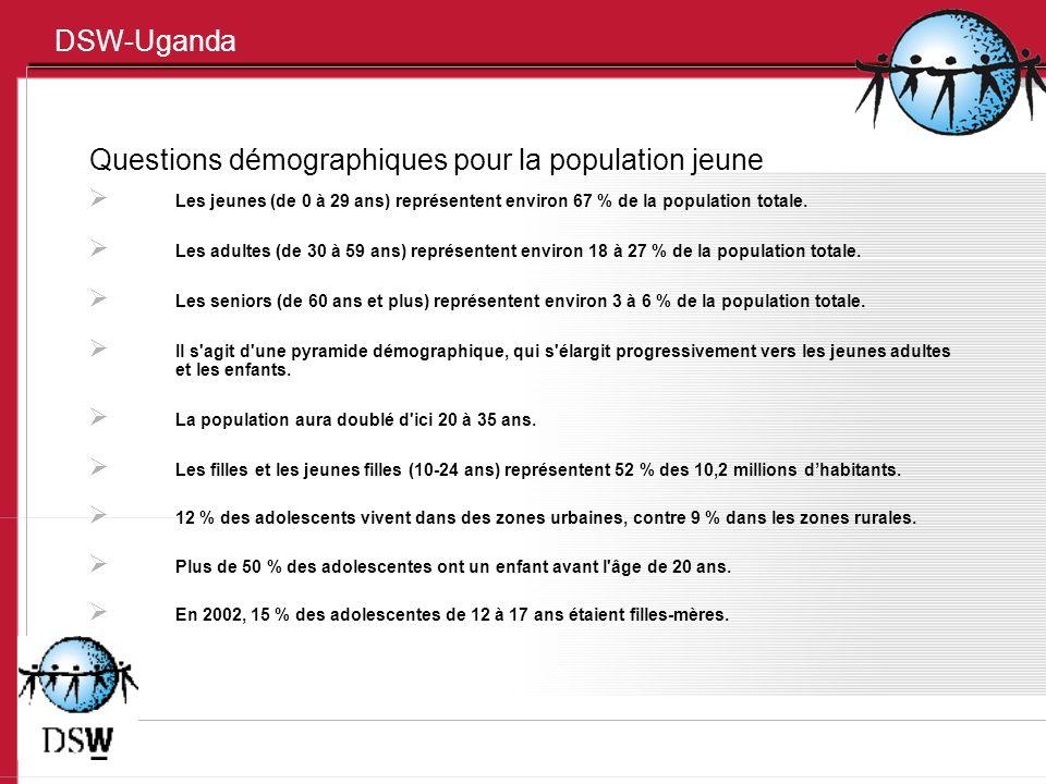 DSW-Uganda Questions démographiques pour la population jeune Les jeunes (de 0 à 29 ans) représentent environ 67 % de la population totale.