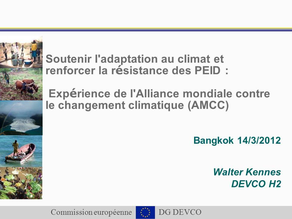 Commission européenne DG DEVCO Soutenir l'adaptation au climat et renforcer la r é sistance des PEID : Exp é rience de l'Alliance mondiale contre le c