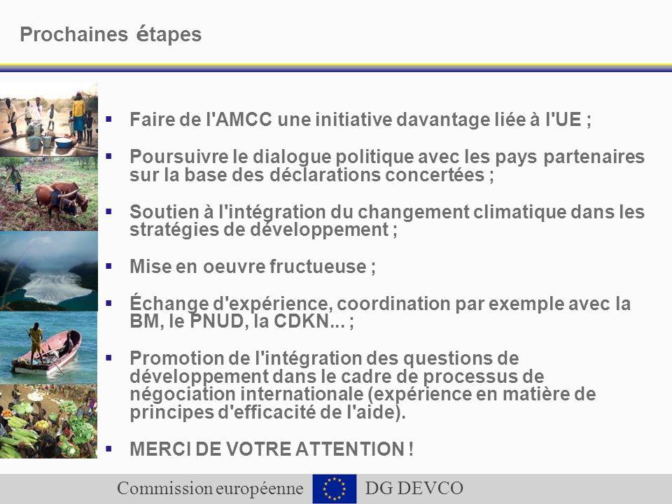 Commission européenne DG DEVCO Prochaines é tapes Faire de l'AMCC une initiative davantage liée à l'UE ; Poursuivre le dialogue politique avec les pay