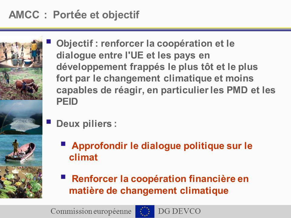 Commission européenne DG DEVCO AMCC : Port é e et objectif Objectif : renforcer la coopération et le dialogue entre l'UE et les pays en développement