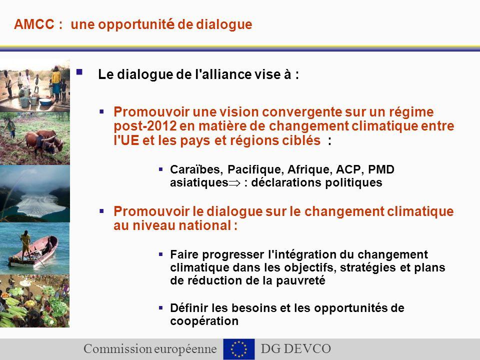 Commission européenne DG DEVCO AMCC : une opportunit é de dialogue Le dialogue de l'alliance vise à : Promouvoir une vision convergente sur un régime