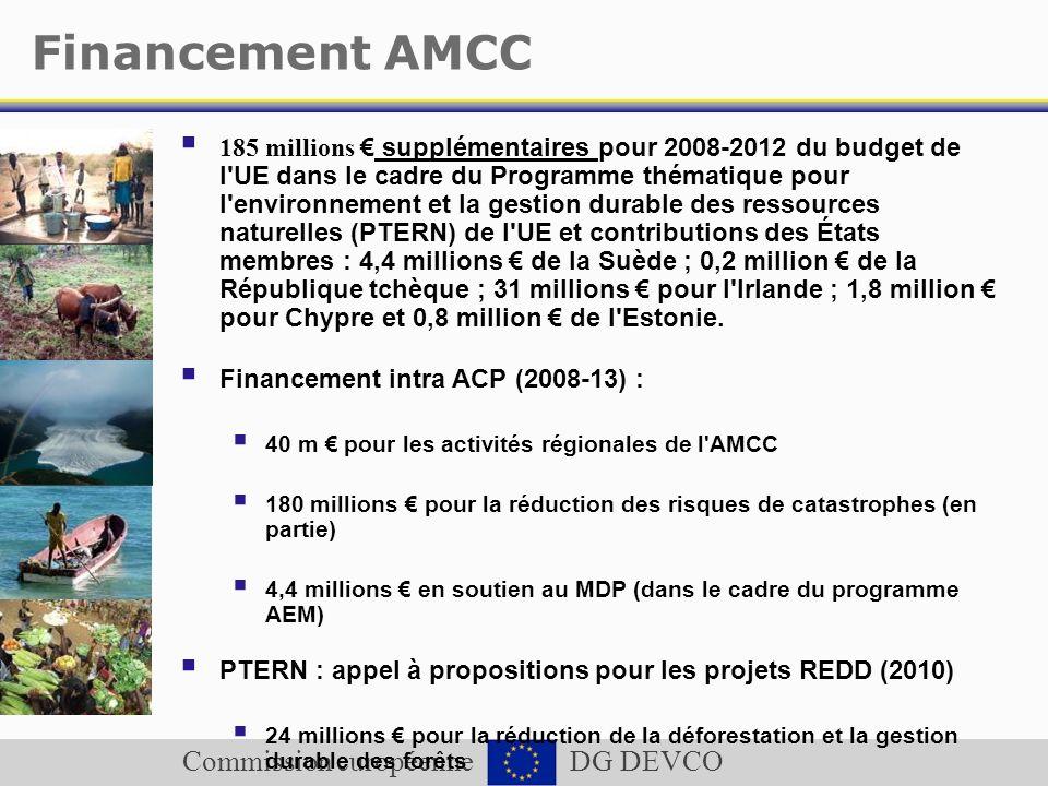 Commission européenne DG DEVCO Financement AMCC 185 millions supplémentaires pour 2008-2012 du budget de l'UE dans le cadre du Programme thématique po