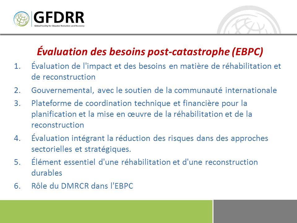 Évaluation des besoins post-catastrophe (EBPC) 1.Évaluation de l'impact et des besoins en matière de réhabilitation et de reconstruction 2.Gouvernemen