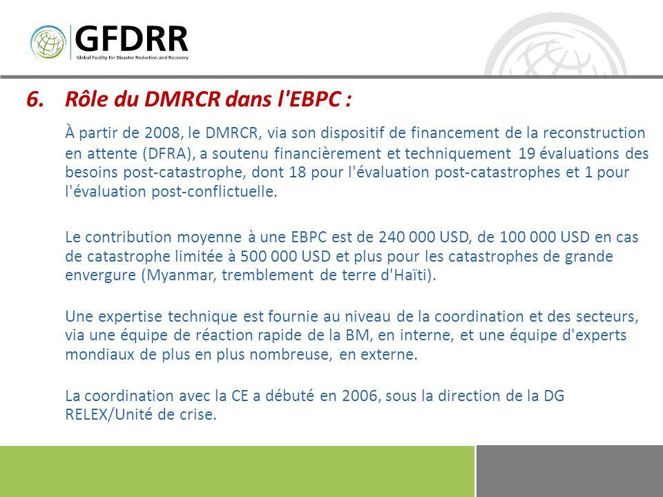 6.Rôle du DMRCR dans l EBPC : De plus en plus, le DFRA s impose comme la structure de coordination mondiale pour le financement de l EBPC et mobilise l expertise et les connaissances requises via des mécanismes novateurs....