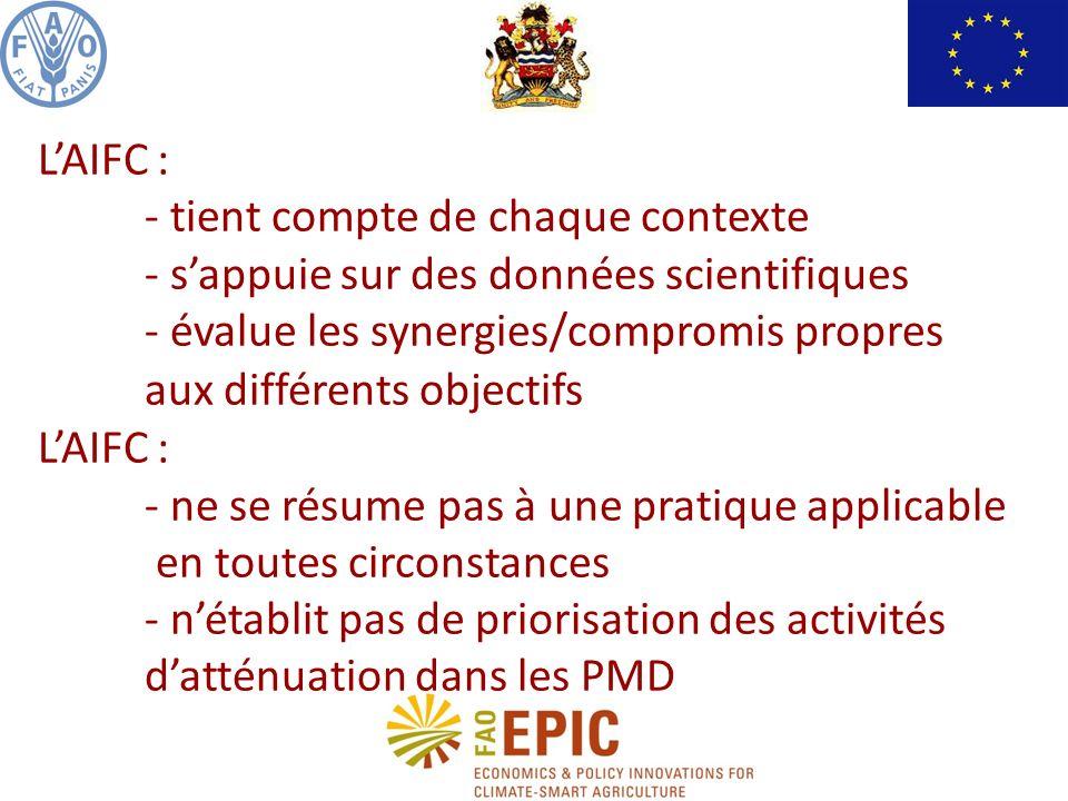 LAIFC : - tient compte de chaque contexte - sappuie sur des données scientifiques - évalue les synergies/compromis propres aux différents objectifs LAIFC : - ne se résume pas à une pratique applicable en toutes circonstances - nétablit pas de priorisation des activités datténuation dans les PMD