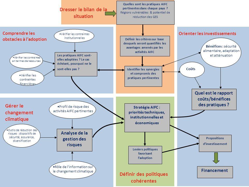 Les pratiques AIFC sont- elles adoptées ? Le cas échéant, pourquoi ne le sont-elles pas ? Quel est le rapport coûts/bénéfices des pratiques ? Stratégi