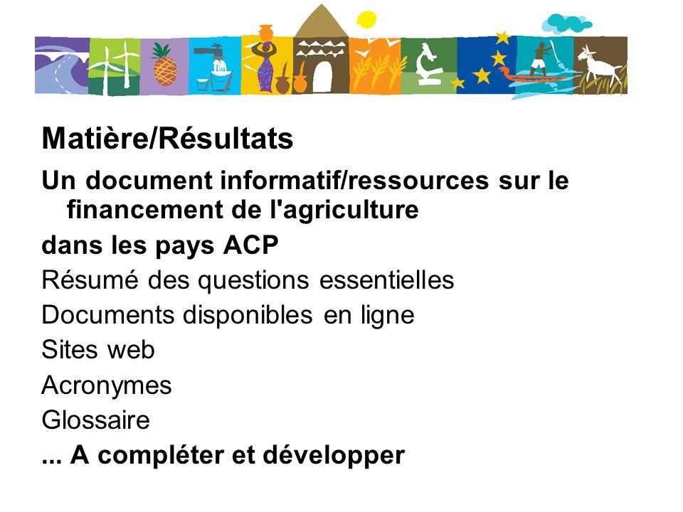 Matière/Résultats Un document informatif/ressources sur le financement de l agriculture dans les pays ACP Résumé des questions essentielles Documents disponibles en ligne Sites web Acronymes Glossaire...