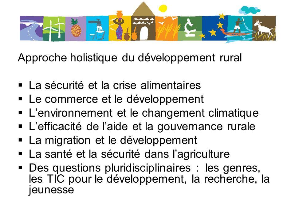 Approche holistique du développement rural La sécurité et la crise alimentaires Le commerce et le développement Lenvironnement et le changement climatique Lefficacité de laide et la gouvernance rurale La migration et le développement La santé et la sécurité dans lagriculture Des questions pluridisciplinaires : les genres, les TIC pour le développement, la recherche, la jeunesse