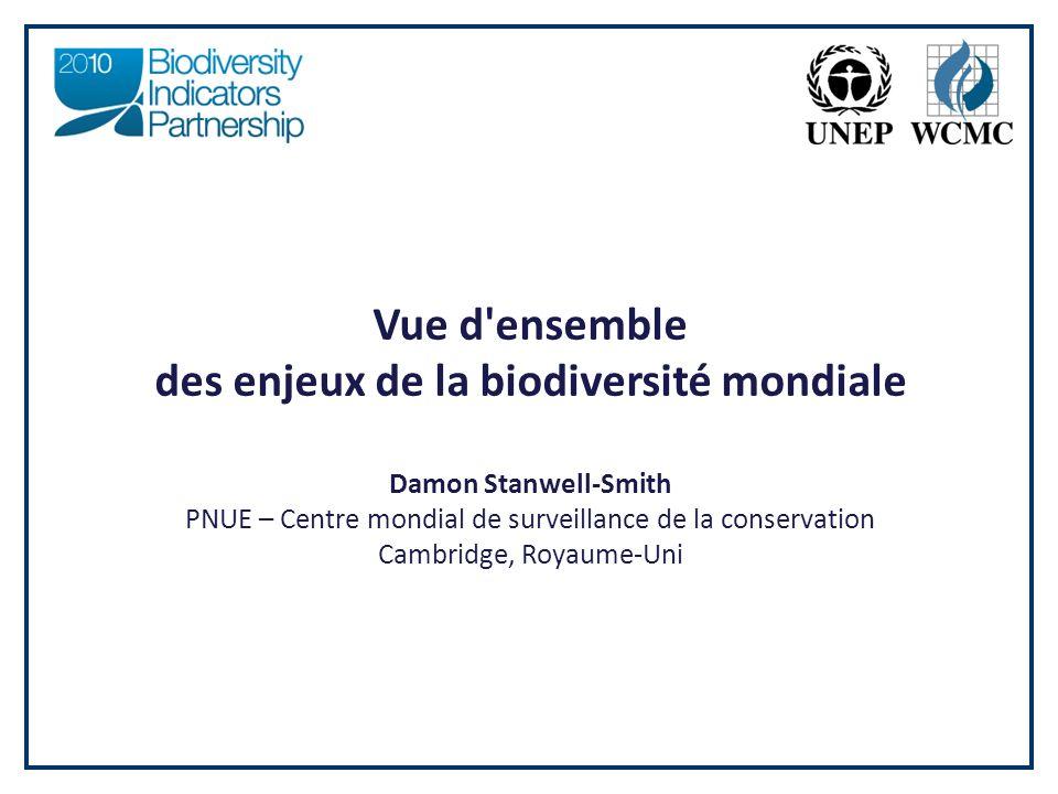 Vue d ensemble des enjeux de la biodiversité mondiale Damon Stanwell-Smith PNUE – Centre mondial de surveillance de la conservation Cambridge, Royaume-Uni