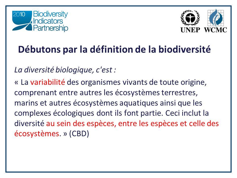 Débutons par la définition de la biodiversité La diversité biologique, c est : « La variabilité des organismes vivants de toute origine, comprenant entre autres les écosystèmes terrestres, marins et autres écosystèmes aquatiques ainsi que les complexes écologiques dont ils font partie.