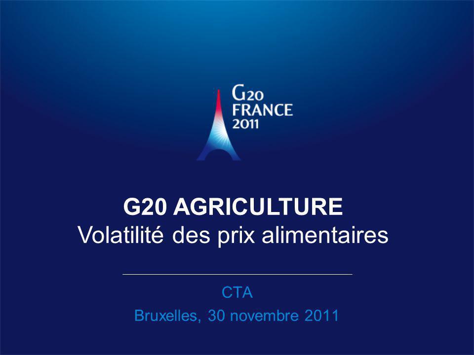 CTA Bruxelles, 30 novembre 2011 G20 AGRICULTURE Volatilité des prix alimentaires