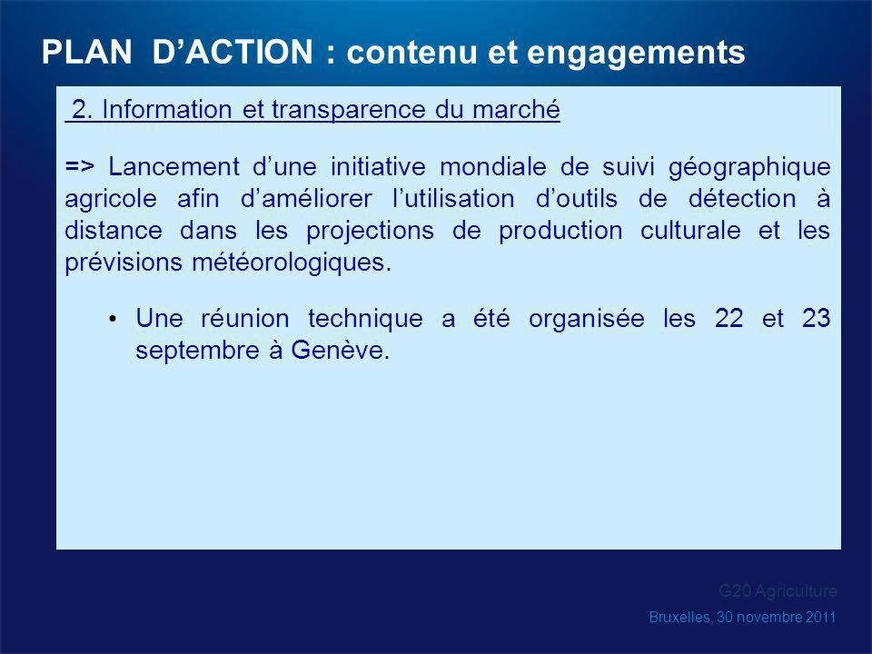 2. Information et transparence du marché => Lancement dune initiative mondiale de suivi géographique agricole afin daméliorer lutilisation doutils de