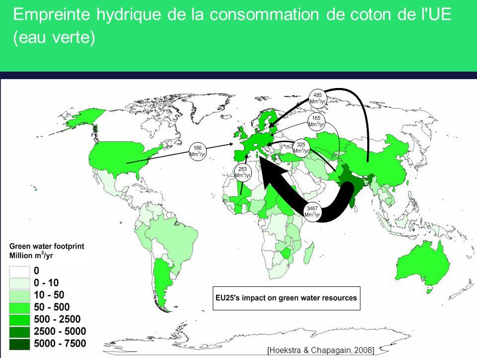 Empreinte hydrique de la consommation de coton de l'UE (eau verte) [Hoekstra & Chapagain, 2008]