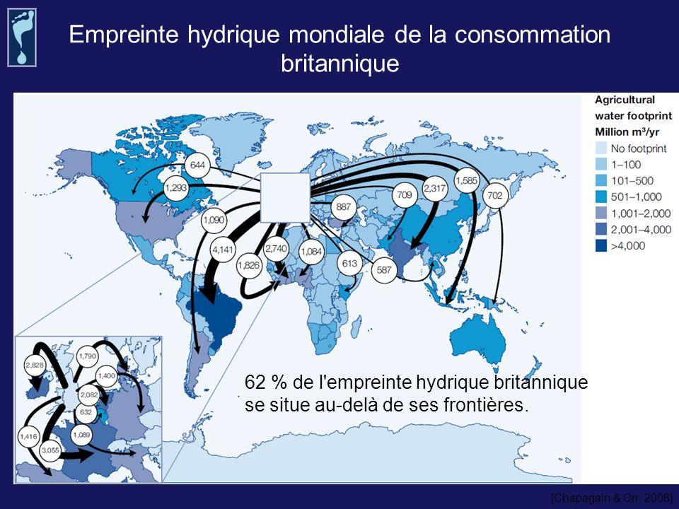 Empreinte hydrique mondiale de la consommation britannique 62 % de l'empreinte hydrique britannique se situe au-delà de ses frontières. [Chapagain & O