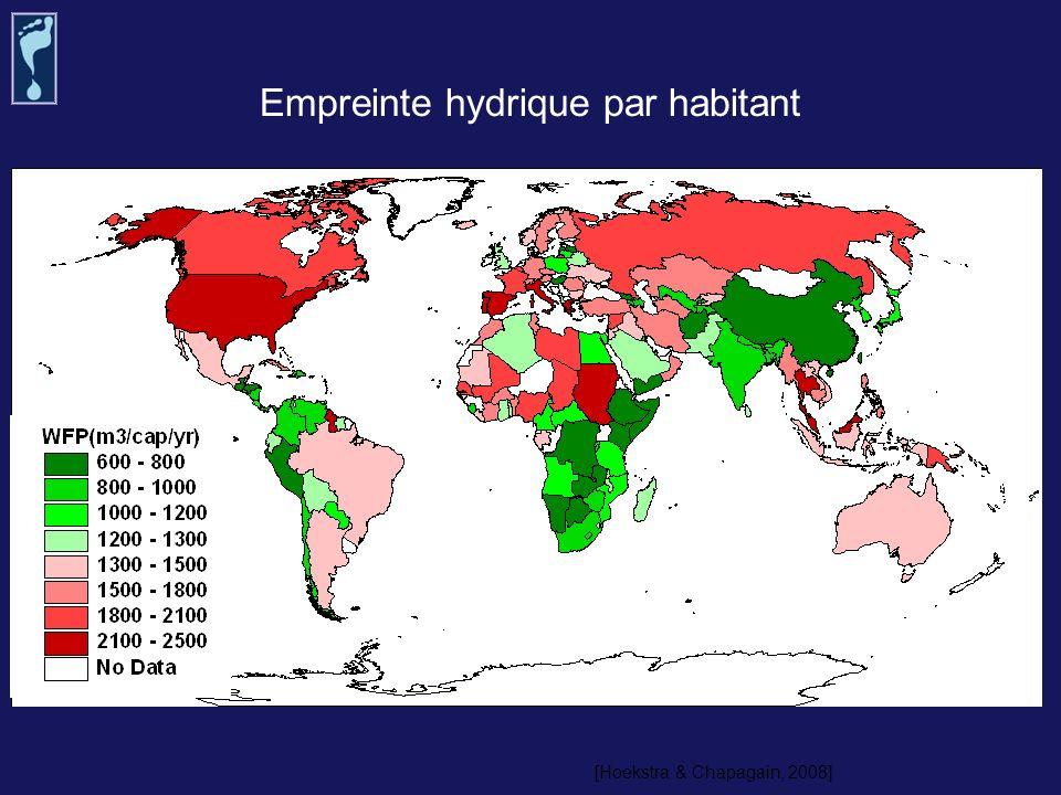 Empreinte hydrique par habitant [Hoekstra & Chapagain, 2008]