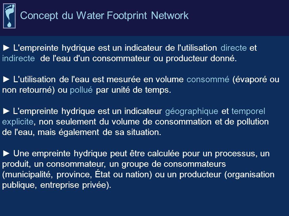 L'empreinte hydrique est un indicateur de l'utilisation directe et indirecte de l'eau d'un consommateur ou producteur donné. L'utilisation de l'eau es