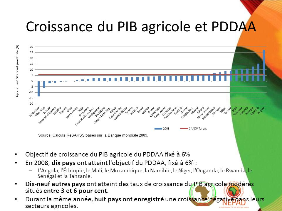 Croissance du PIB agricole et PDDAA Objectif de croissance du PIB agricole du PDDAA fixé à 6% En 2008, dix pays ont atteint l objectif du PDDAA, fixé à 6% : – L Angola, l Éthiopie, le Mali, le Mozambique, la Namibie, le Niger, l Ouganda, le Rwanda, le Sénégal et la Tanzanie.