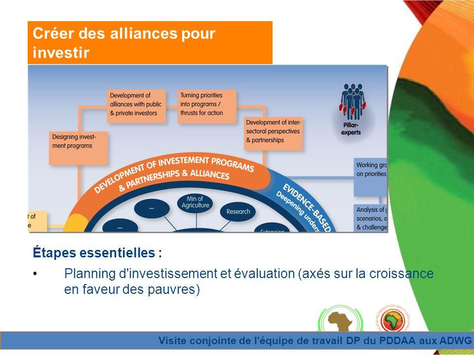 Visite conjointe de l équipe de travail DP du PDDAA aux ADWG Créer des alliances pour investir Étapes essentielles : Planning d investissement et évaluation (axés sur la croissance en faveur des pauvres)