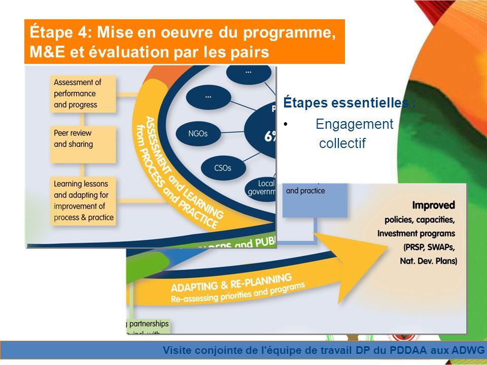Visite conjointe de l équipe de travail DP du PDDAA aux ADWG Étape 4: Mise en oeuvre du programme, M&E et évaluation par les pairs Étapes essentielles : Engagement collectif