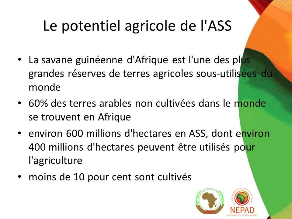 Le potentiel agricole de l ASS La savane guinéenne d Afrique est l une des plus grandes réserves de terres agricoles sous-utilisées du monde 60% des terres arables non cultivées dans le monde se trouvent en Afrique environ 600 millions d hectares en ASS, dont environ 400 millions d hectares peuvent être utilisés pour l agriculture moins de 10 pour cent sont cultivés