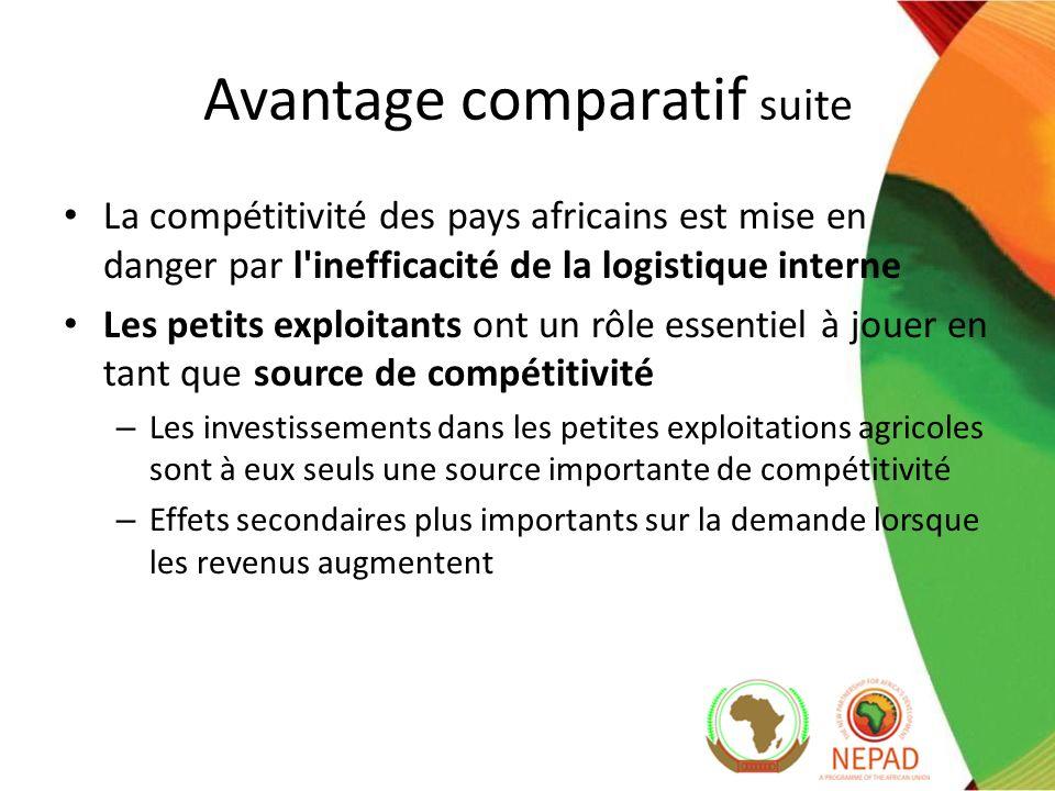 La compétitivité des pays africains est mise en danger par l inefficacité de la logistique interne Les petits exploitants ont un rôle essentiel à jouer en tant que source de compétitivité – Les investissements dans les petites exploitations agricoles sont à eux seuls une source importante de compétitivité – Effets secondaires plus importants sur la demande lorsque les revenus augmentent Avantage comparatif suite