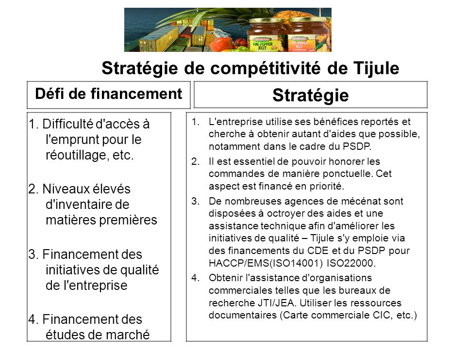 Stratégie de compétitivité de Tijule 1.Difficulté d accès à l emprunt pour le réoutillage, etc.
