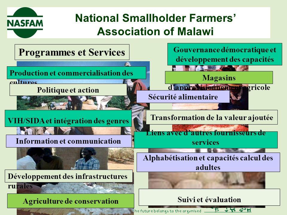 National Smallholder Farmers Association of Malawi Réponses des petits agriculteurs Introduction à la NASFAM Détenue par ses membres et gouvernée démocratiquement Plus grande organisation dagriculteurs avec 108 000 membres dans 43 associations 19 des 29 districts du Malawi Programme damélioration de la subsistance des agriculteurs, de leur communauté et de la nation 9