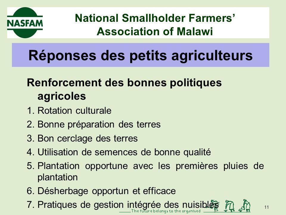 National Smallholder Farmers Association of Malawi 10 Production et commercialisation des cultures Magasins dapprovisionnement agricole Gouvernance dé