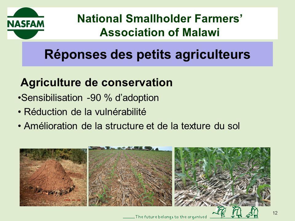 National Smallholder Farmers Association of Malawi Réponses des petits agriculteurs Renforcement des bonnes politiques agricoles 1.Rotation culturale