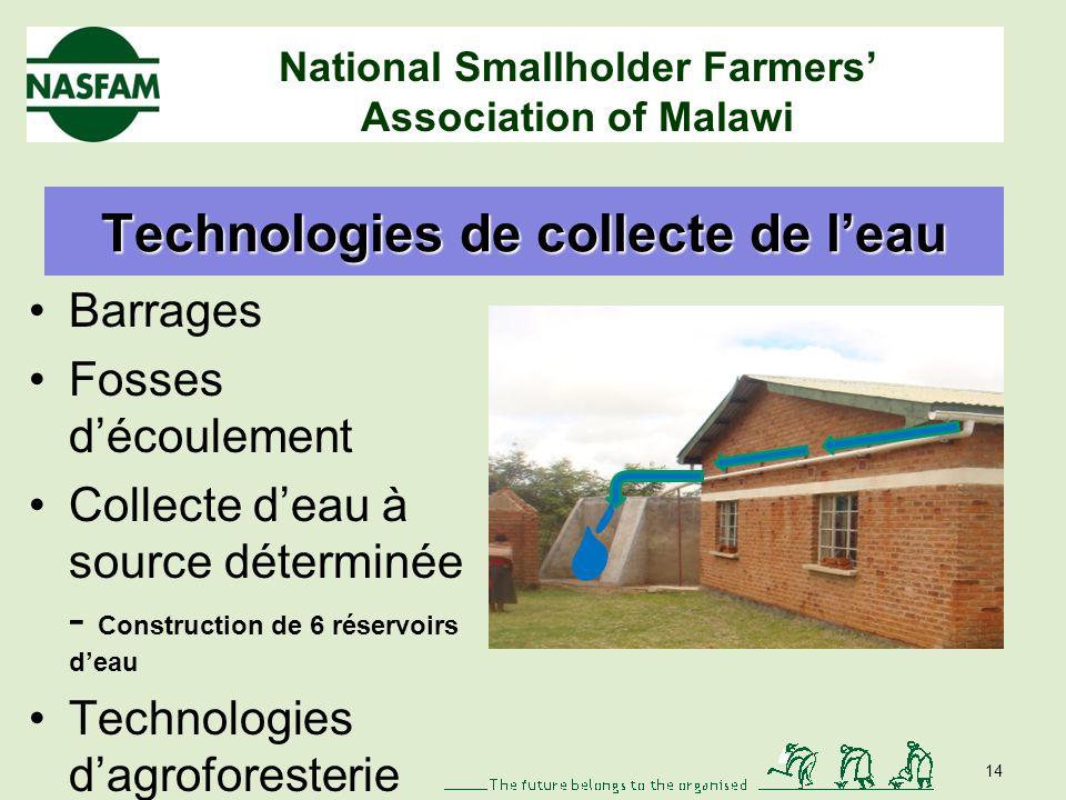 National Smallholder Farmers Association of Malawi Irrigation à petite échelle Économies de main dœuvre et de temps Utilisation correcte des ressources rares en eau 13