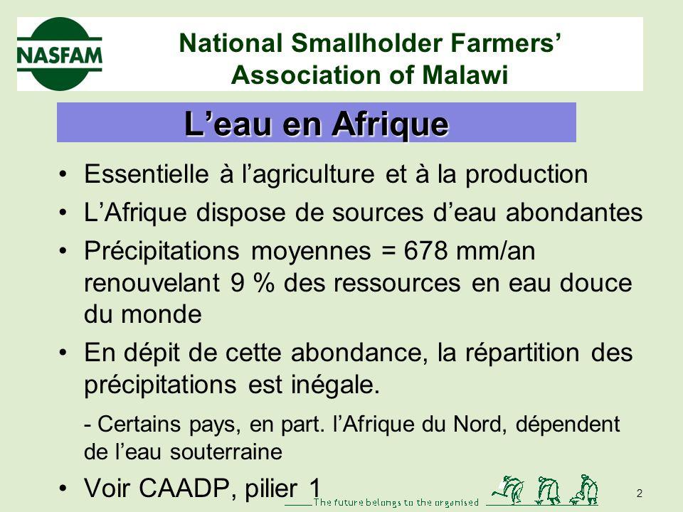 National Smallholder Farmers Association of Malawi Enjeux politiques de leau pour les agriculteurs : apprentissage par lexperience Dyborn Chibonga, NA