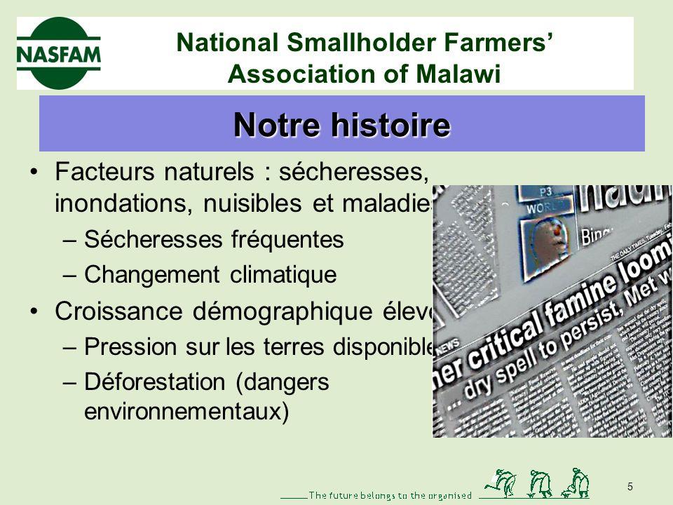 National Smallholder Farmers Association of Malawi Eau et agriculture Secteur à deux visages avec 90 % de petits agriculteurs Les ressources agri et naturelles utilisent 1,5 % des ressources en eau des pays.
