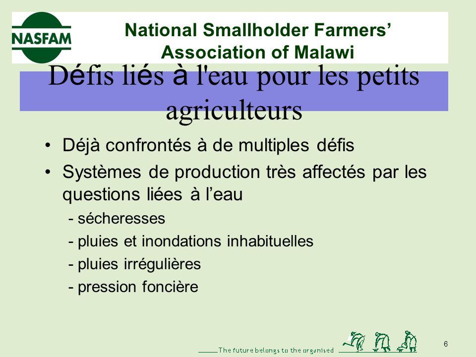 National Smallholder Farmers Association of Malawi Notre histoire Facteurs naturels : sécheresses, inondations, nuisibles et maladies –Sécheresses fré