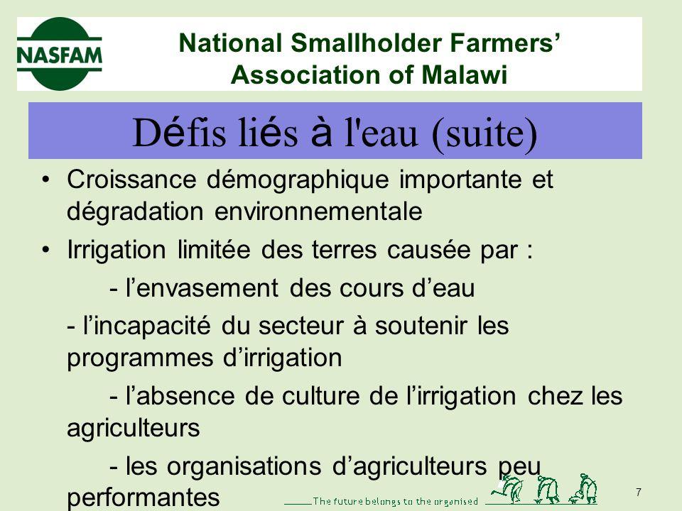 National Smallholder Farmers Association of Malawi D é fis li é s à l'eau pour les petits agriculteurs Déjà confrontés à de multiples défis Systèmes d