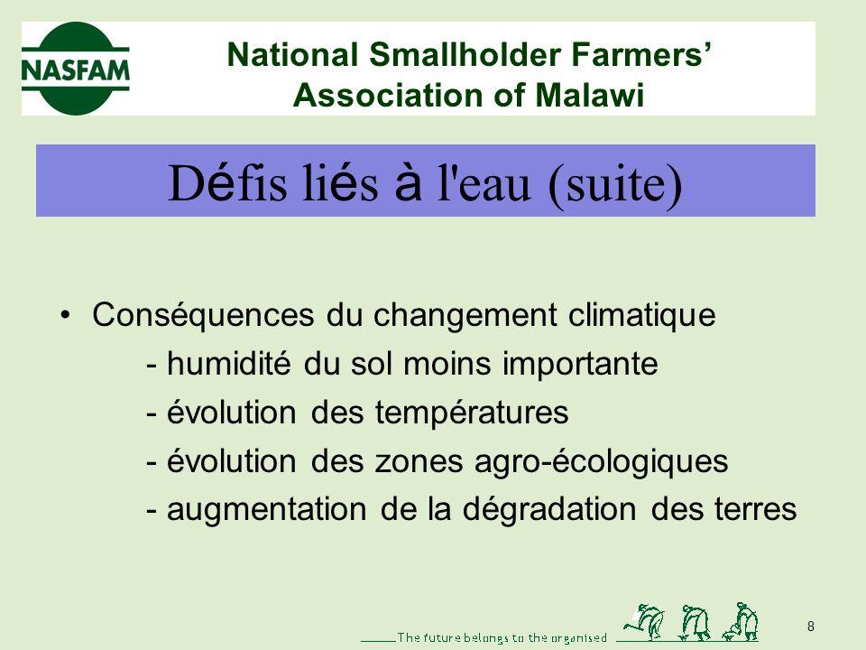 National Smallholder Farmers Association of Malawi D é fis li é s à l'eau (suite) Croissance démographique importante et dégradation environnementale