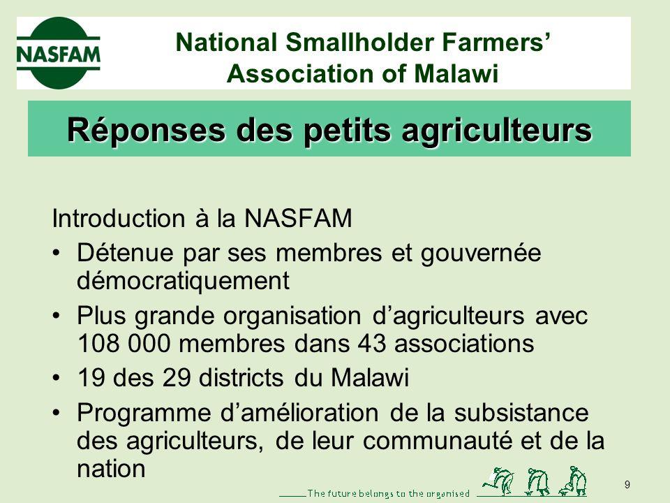 National Smallholder Farmers Association of Malawi D é fis li é s à l eau (suite) Conséquences du changement climatique - humidité du sol moins importante - évolution des températures - évolution des zones agro-écologiques - augmentation de la dégradation des terres 8