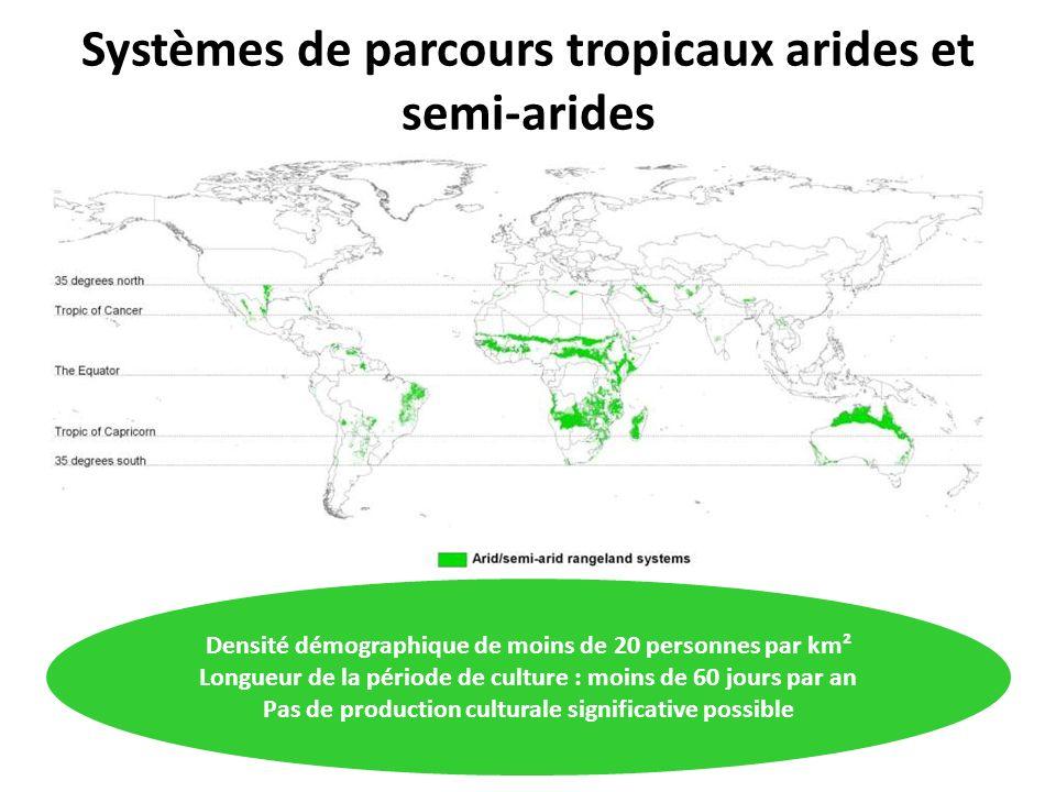 Systèmes de parcours tropicaux arides et semi-arides Densité démographique de moins de 20 personnes par km² Longueur de la période de culture : moins de 60 jours par an Pas de production culturale significative possible